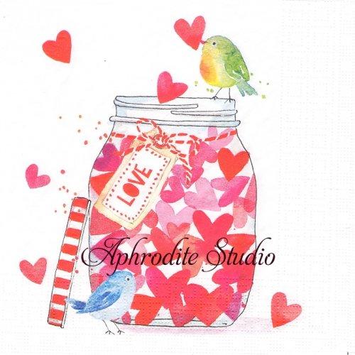 Jar of Hearts ハートの小瓶と小鳥1枚 33cm  バラ売り ペーパーナプキン ppd
