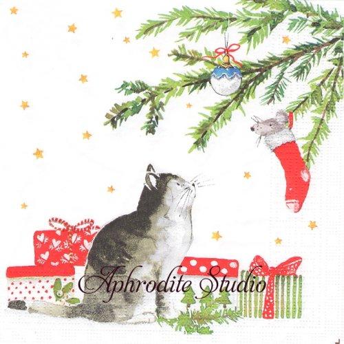 Christmas Cat ネズミと猫 クリスマス1枚 33cm  バラ売り ペーパーナプキン ppd