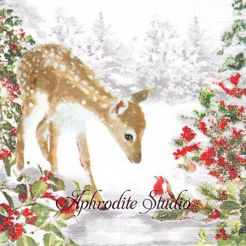 Bambi クリスマス バンビ 1枚 33cm  バラ売り ペーパーナプキン ppd