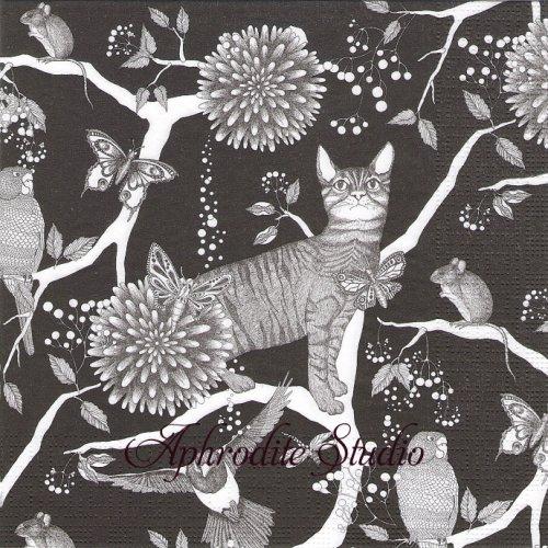 Catzy モノクロ 猫 1枚 33cm  バラ売り ペーパーナプキン ppd