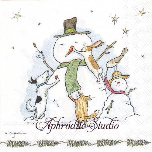 25cm アニタ・ジェラーム SNOWMAN WITH FRIENDS スノーマンとお友達 Anita Jeram 1枚 バラ売り ペーパーナプキン Ihr