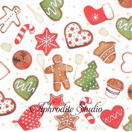 25cm Cookies and bakery クッキーとパン クリスマス 1枚 バラ売り ペーパーナプキン Ihr