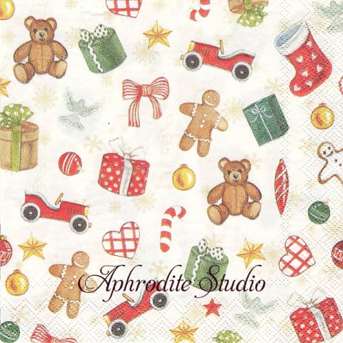 25cm Festive Christmas Toys おもちゃ クリスマス 1枚 バラ売り ペーパーナプキン Ihr