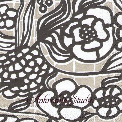 北欧 マリメッコ FLORISTI グレー お花  1枚 バラ売り 33cm ペーパーナプキン marimekko