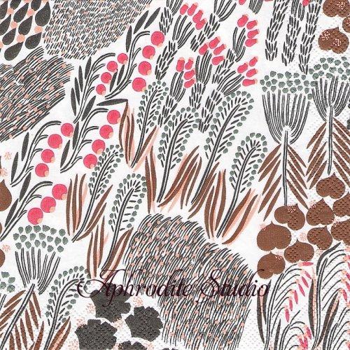 25cm 北欧 マリメッコ PIENI LETTO ピエニレット ブラウン 1枚 バラ売り ペーパーナプキン marimekko