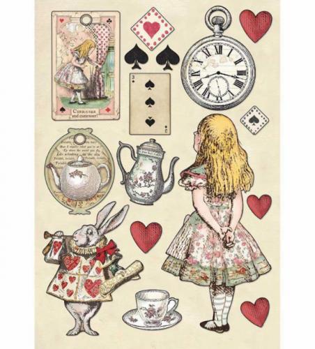 スタンペリア A5サイズ 木製装飾片 【Alice】 KLSP075  不思議の国のアリス スクラップブッキング Stamperia