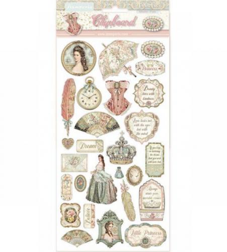 スタンペリア エンベリシュメントチップボード 装飾片 【Princess】  DFLCB07  スクラップブッキング Stamperia