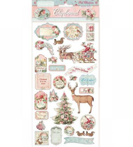 スタンペリア エンベリシュメントチップボード 装飾片 【Pink Christmas 】  DFLCB06  スクラップブッキング Stamperia