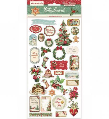 スタンペリア エンベリシュメントチップボード 装飾片 【Classic Christmas】  DFLCB05  スクラップブッキング Stamperia