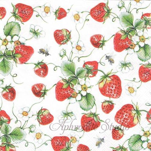 25cm Strawberries all over 苺 ストロベリー 1枚 バラ売り ペーパーナプキン  Ambiente