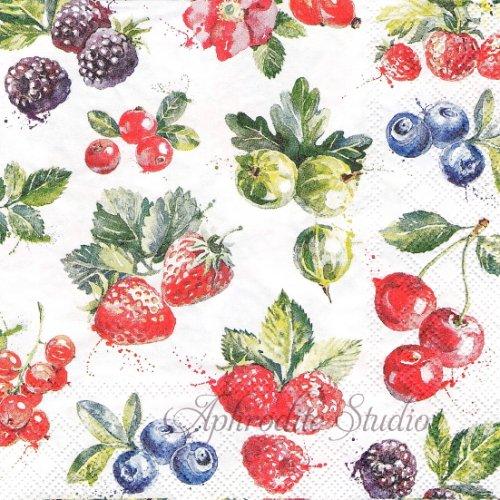 25cm Mixed fruit チェリー 苺 ストロベリー 1枚 バラ売り ペーパーナプキン  Ambiente