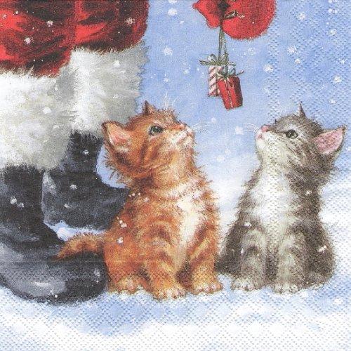 25cm Two small presents 小さな二つのプレゼント 子猫 1枚 バラ売り ペーパーナプキン  Ambiente