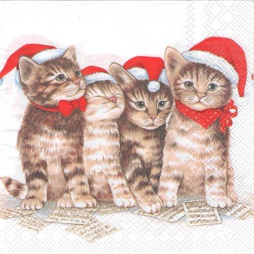 25cm Singing cats 4匹のサンタ帽子の子猫 1枚 バラ売り ペーパーナプキン  Ambiente