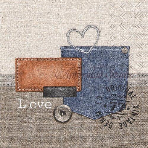 25cm Oriental denim デニムのポケット 1枚 バラ売り ペーパーナプキン  Ambiente