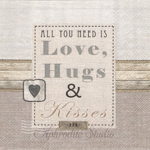 25cm Love hugs & kisses  1枚 バラ売り ペーパーナプキン  Ambiente