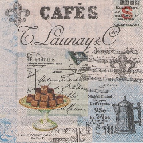 25cm Cafe collage カフェのコラージュ  1枚 バラ売り ペーパーナプキン  Ambiente