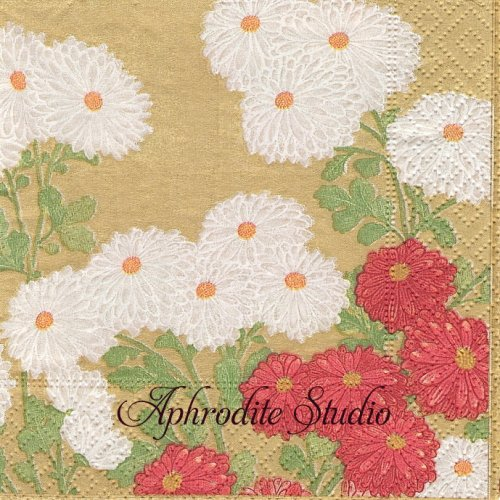 25cm カスパリ Chrysanthemum screen ゴールド 菊 和柄  1枚 バラ売り ペーパーナプキン  Caspari
