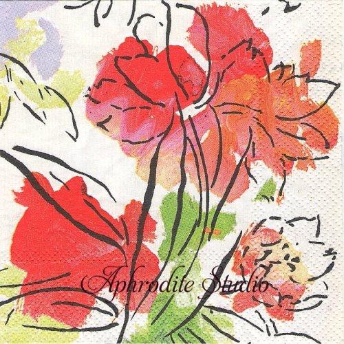 25cm カスパリ Abstract Floral お花  1枚 バラ売り ペーパーナプキン  Caspari