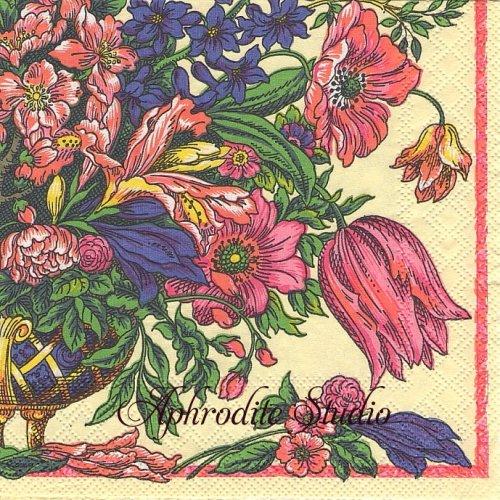25cm カスパリ Bowles botanical お花  1枚 バラ売り ペーパーナプキン  Caspari