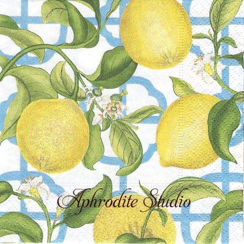 25cm カスパリ Seville レモン  1枚 バラ売り ペーパーナプキン  Caspari