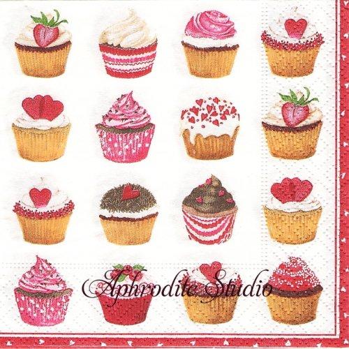 25cm カスパリ Heart cupcakes  ハートのカップケーキ 1枚 バラ売り ペーパーナプキン Caspari