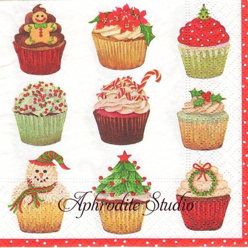 25cm カスパリ Christmas cupcakes  クリスマスのカップケーキ 1枚 バラ売り ペーパーナプキン Caspari