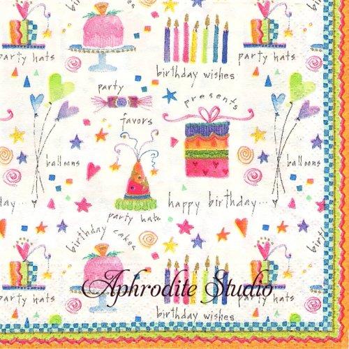 25cm カスパリ Birthday party お誕生日パーティー 1枚 バラ売り ペーパーナプキン Caspari