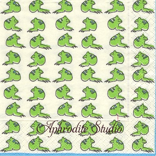 25cm カスパリ Froggy frog カエル 1枚 バラ売り ペーパーナプキン Caspari