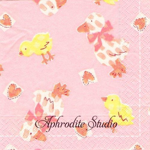 25cm カスパリ Duckies ピンク あひる 1枚 バラ売り ペーパーナプキン Caspari