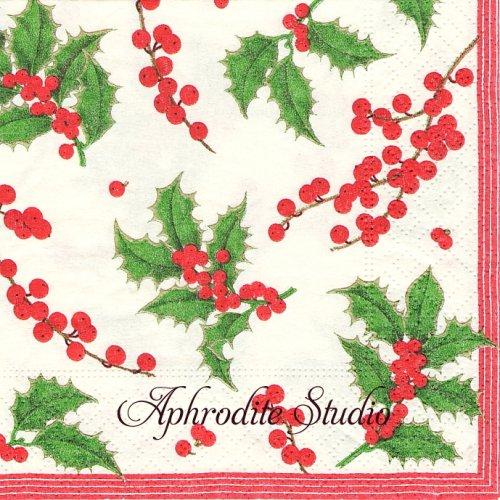 25cm カスパリ Holly and berries クリスマス 柊 1枚 バラ売り ペーパーナプキン Caspari