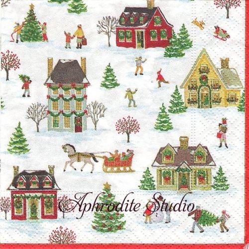 25cm カスパリ Snowy village クリスマス 家 1枚 バラ売り ペーパーナプキン Caspari