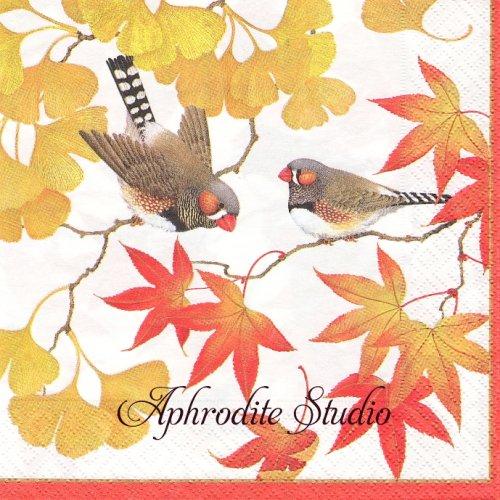 カスパリ GINKO AND FINCH 銀杏と小鳥  1枚 バラ売り 33cm ペーパーナプキン  Caspari