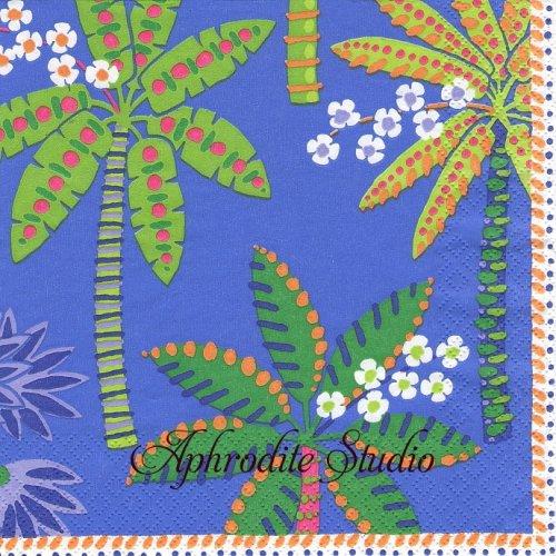 カスパリ PARADISE PALMS ブルー ヤシの木  1枚 バラ売り 33cm ペーパーナプキン  Caspari