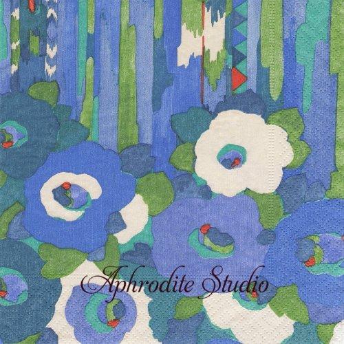 カスパリ COLUMBIA ROAD デザイン化された花柄 ブルー Collier Campbell 1枚 ばら売り 33cm ペーパーナプキン Caspari