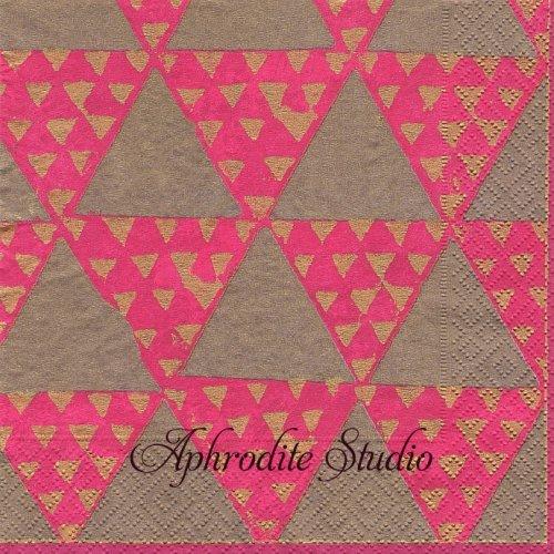 カスパリ RIO-BRONZE ピンク 三角模様 1枚 バラ売り 33cm ペーパーナプキン Caspari カスパリ