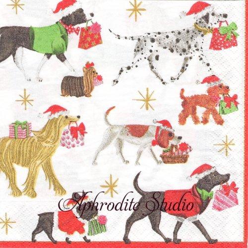 カスパリ CHRISTMAS DELIVERY プレゼントのお届け物をする犬 マサキ・リョウ 1枚 バラ売り 33cm ペーパーナプキン Caspari