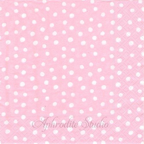 カスパリ SMALL DOTS ピンク 小さな丸 ドット Felicity Miller 1枚 バラ売り 33cm ペーパーナプキン Caspari