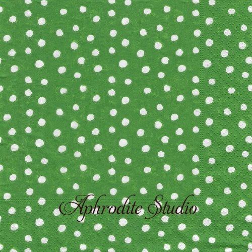 カスパリ SMALL DOTS グリーン 小さな丸 ドット Felicity Miller 1枚 バラ売り 33cm ペーパーナプキン Caspari