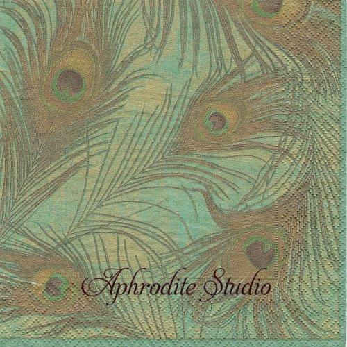 カスパリ 廃盤 PEACOCK グリーン 孔雀の羽 1枚 バラ売り 33cm ペーパーナプキン Caspari