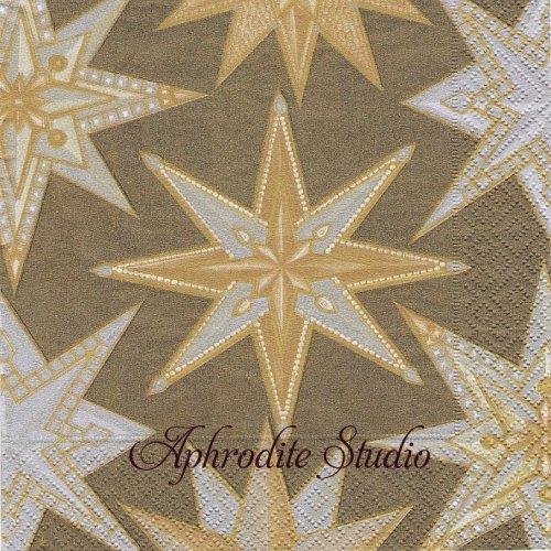 カスパリ 廃盤 JEWELED STARS メタリック 星 クリスマス 1枚 バラ売り 33cm ペーパーナプキン Caspari