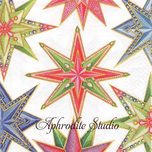カスパリ 廃盤 JEWELED STARS ホワイト 星 クリスマス 1枚 バラ売り 33cm ペーパーナプキン Caspari