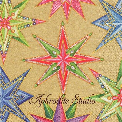 カスパリ 廃盤 JEWELED STARS ゴールド 星 クリスマス 1枚 バラ売り 33cm ペーパーナプキン Caspari