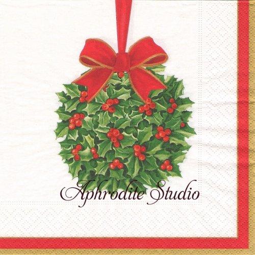 カスパリ 廃盤 赤いリボンのオーナメント クリスマス 小鳥 1枚 バラ売り 33cm ペーパーナプキン Caspari