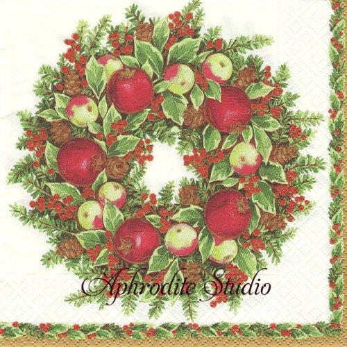 カスパリ 廃盤 WILLIAMSBURG WREATH りんごのリース クリスマス 1枚 バラ売り 33cm ペーパーナプキン Caspari