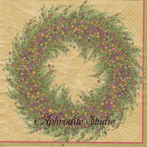 カスパリ 廃盤 BERRY WREATH ベリーのリース クリスマス 1枚 バラ売り 33cm ペーパーナプキン Caspari