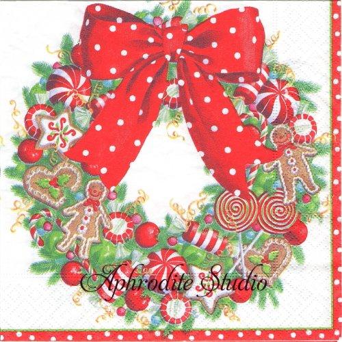 カスパリ 廃盤 CANDY WREATH キャンディのリース クリスマス 1枚 バラ売り 33cm ペーパーナプキン Caspari