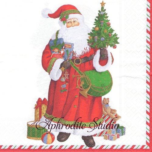カスパリ 廃盤 サンタクロース クリスマス 1枚 バラ売り 33cm ペーパーナプキン Caspari