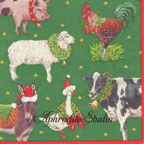カスパリ 廃盤 FARM TO STABLE 農場の動物 クリスマス 1枚 バラ売り 33cm ペーパーナプキン Caspari