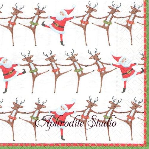カスパリ 廃盤 Christmas can can クリスマスカンカン 1枚 バラ売り 33cm ペーパーナプキン Caspari