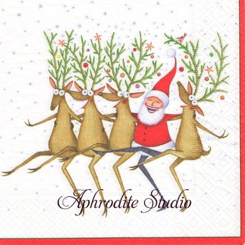 カスパリ 廃盤 Santa's kickttes クリスマス サンタダンス 1枚 バラ売り 33cm ペーパーナプキン Caspari